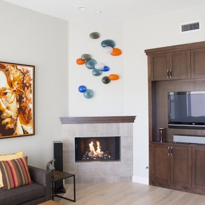 Residential Custom Wall Mounted Glass Art by Christopher Jeffries - Rock Series