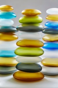 Custom Glass Art by Christopher Jeffries - Stacked Rocks