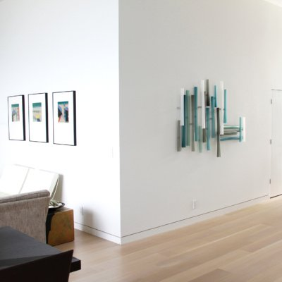 Residential Custom Wall Mounted Glass Art by Christopher Jeffries - Intersection Series